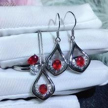 KJJEAXCMY boutique อัญมณี 925 เงินฝังทับทิมธรรมชาติแหวนผู้หญิงสร้อยคอจี้ต่างหูชุดสนับสนุนการตรวจจับ