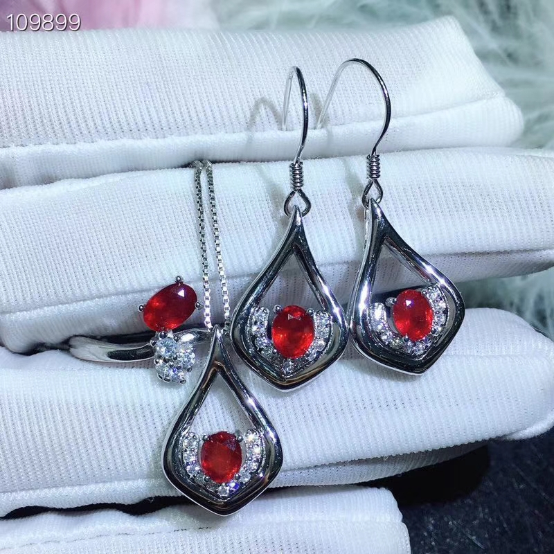 KJJEAXCMY boutique jewels 925 Silver-inlaid Natural Ruby Womens Ring Necklace Pendant Earring Set Support DetectionKJJEAXCMY boutique jewels 925 Silver-inlaid Natural Ruby Womens Ring Necklace Pendant Earring Set Support Detection