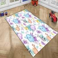Alfombrilla de alfombra decorativa para habitación de Niños de microfibra antideslizante con estampado 3d de animales divertidos tropicales cebra elefante jirafa