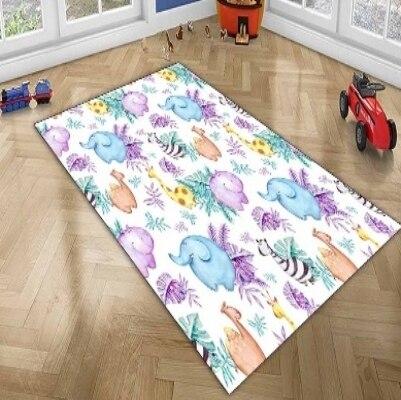 Else Giraffe Hippo Elephant Zebra Tropical Funny Animals 3d Print Non Slip Microfiber Children Kids Room Decorative Area Rug Mat