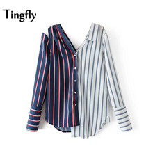 Tingfly Autumn font b Women b font Off the Shoulder Striped font b Shirt b font