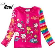 NEAT 2017 Spring and Autumn long sleeves fashion girls children's clothing cartoon printing cute kittens little girl shirt L326