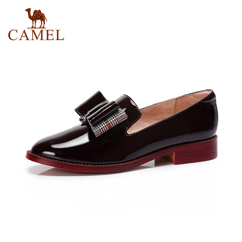 CAMEL New Women Retro Leather Dress Shoes Women Low Heel Casual Single Shoes For Ladies British