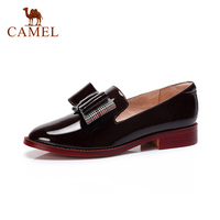 CAMEL New Women Retro Leather Dress Shoes Women Low Heel Casual Single Shoes For Ladies British Bow Knot Red Wine Dress Pumps