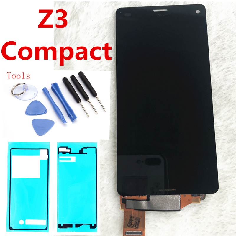 4,6 blanco y negro para Sony Xperia Z3 compacto D5803 D5833 pantalla LCD Z3mini digitalizador de pantalla táctil de asamblea completo + adhesivo + herramientas
