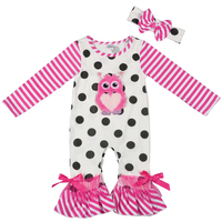 Baby     Rompers   Newborn Jumpsuit 2019 Valentine's Day Outfit Wholesale Striped Owl Embroidery   Romper   Newborn Boutique Clothing