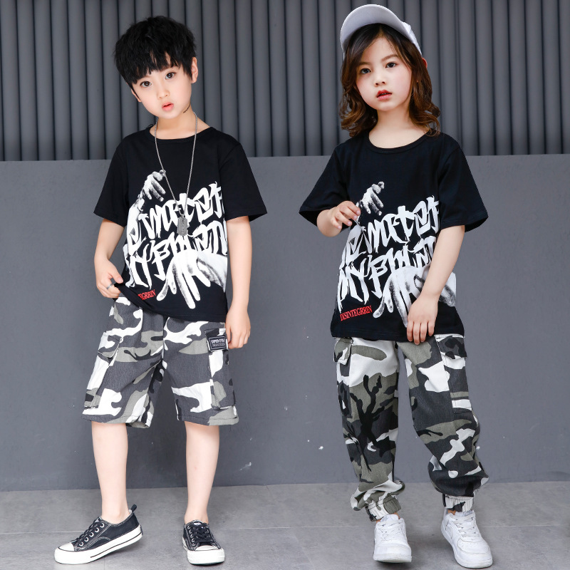 Fashion Jazz Dance Costumes Hip Hop Dancing Black Tops Clothes Street Dance Camo Pants Hot Cheerleading Clothes For Kids DWY287