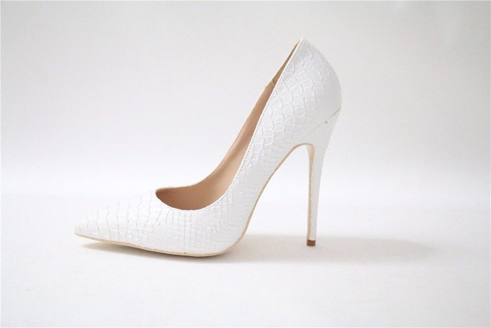 Las Sexy Tacones De Tacón Primavera Gratis Bombas Blanco Vestido Envío Otoño Punta Heel Delgada Mujeres 12cm Superficial Serpiente Zapatos Oficina Alto 8awddx