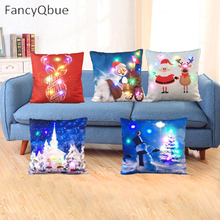1Pc Colorful Linen LED Merry Christmas Pillowcase Cushion Cover Home  Christmas Decoration  45*45cm No Battery