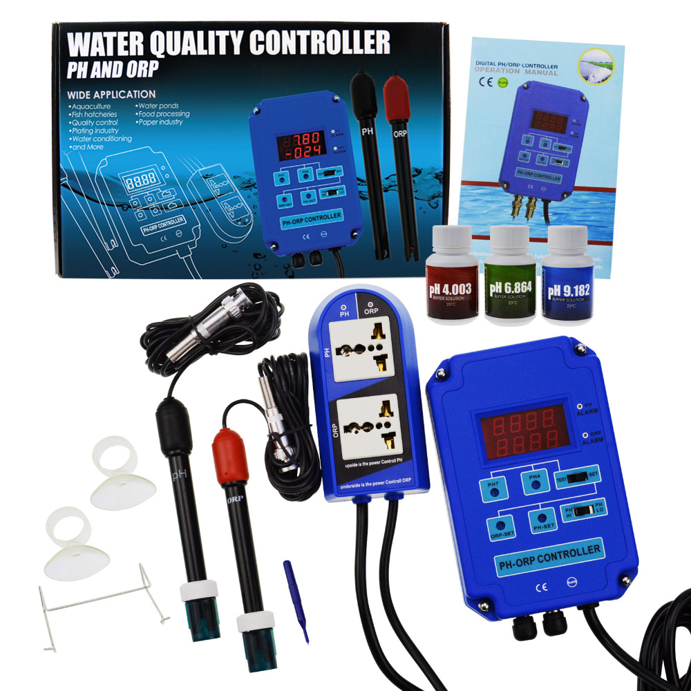 Buy Digital Ph Orp Redox 2 In 1 Controller Monitor Power Relay Operation W Output Control Electrode Probe Bnc For Aquarium Hydroponics Plants From