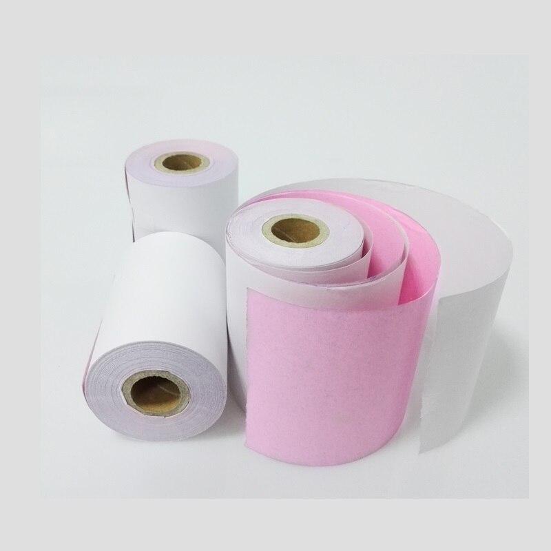Купить с кэшбэком 1rolls/lot 75x60mm double layer cash register paper 2 layer carbonless paper roll for 75*60 POS cash register paper