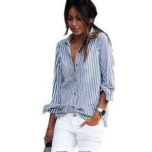 Новая мода Большой размер 2018 сексуальный цвет на заказ Повседневная летняя рубашка в полоску с длинными рукавами blusa Женская TN11