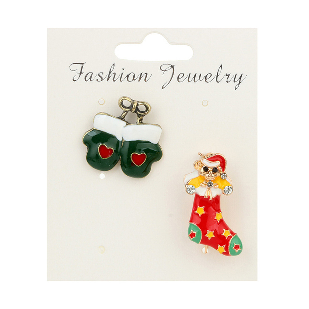 Christmas Sock Gloves Brooches Pins for Women Irregular Cute Green Red Crystal Brooches Jewelry 2018