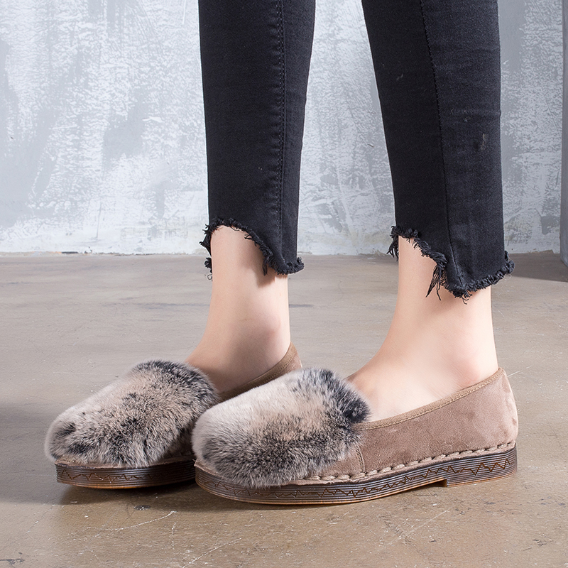 Winter Fur Shoes Women' s Flats Nubuck Leather Soft Female Shoes Casual Comfortable Slip-On Lady Flat Warm Plush Shoes hellyhansen women s outdoor casual shoes leather shoes flat shoes