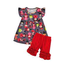 bc58af3e1 Wholesale Price New Summer Clothes Kids Flutter Sleeve Cartoon Top Ruffle  Solid Shorts Sets Girls Boutique