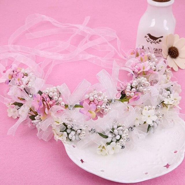 Mhsn bridal wedding whitepink flower hair accessories crystal sun bridal wedding whitepink flower hair accessories crystal pearls headbands hairband elegant mightylinksfo