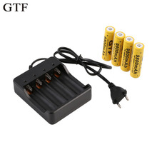 GTF 4psc 18650 3.7V 9800mAh Li-ion Rechargeable Battery+EU Smart Charger Indicator