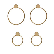 Metal temperament fashion simple geometric round stud earrings Exaggerated street snap female