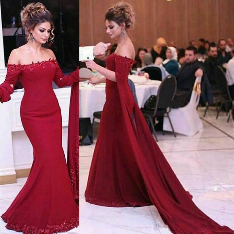 Robes de soirée sirène rouge avec manchon hors épaule longueur du sol saoudien arabe fête Pageant robe de célébrité remise