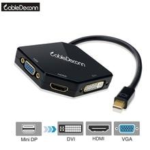 Mini DP Thunderbolt to HDMI 4K VGA DVI 1080P 3in1 Cable Adapter Converter for Macbook Air Imac Macbook Pro 2017 Hot Product