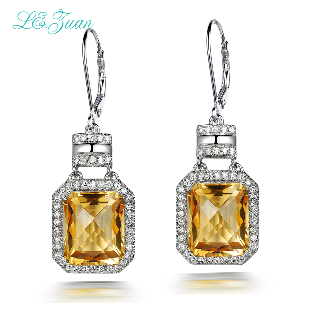 L&zuan 12.04ct Natural Gemstone Citrine Earring 925 Sterling Silver Trendy Drop Earrings For Women Fine Jewelry E0053-W05 pair of trendy faux gemstone drop earrings for women