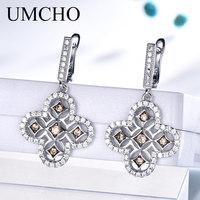 UMCHO Real 925 Sterling Silver Clip Earrings AAA+ Cubic Zircon Elegant Korean Earrings For Women Wedding Gift Fine Jewelry
