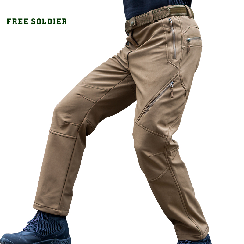 FREE SOLDIER Outdoor Tactical Military Men's Pants SoftShell Fleece Fabric For Climbing Hiking wipson sf xc1 pistol mini light gun led tactical weapon light airsoft military hunting flashlight for glock free shipping
