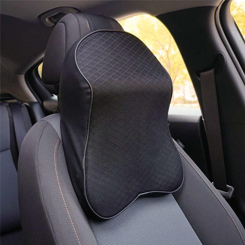 Coche cuello almohada suave 3D memoria reposacabezas almohadas cuero PU viaje almohada asiento de auto y oficina cojín para masaje de apoyo de la cabeza