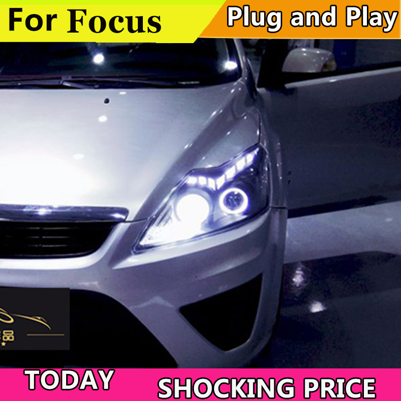 Style de voiture doxa pour phares ford focus 2009-2011 lentille bifocale barre de LED yeux d'ange DRL xenon H7 pour phares Ford Focus - 2