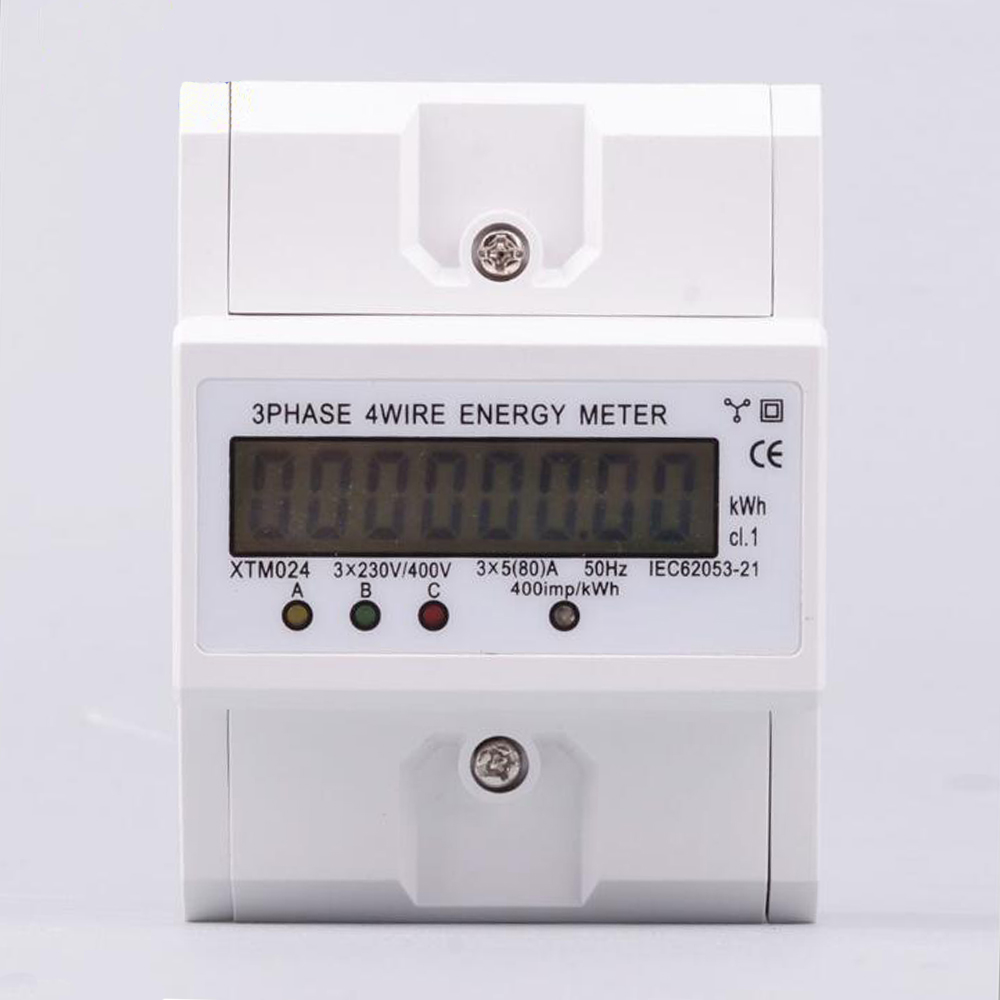 Digital LCD 3x20 80A Three Phase Four Wire DIN Rail KWh Electronic Energy Meter