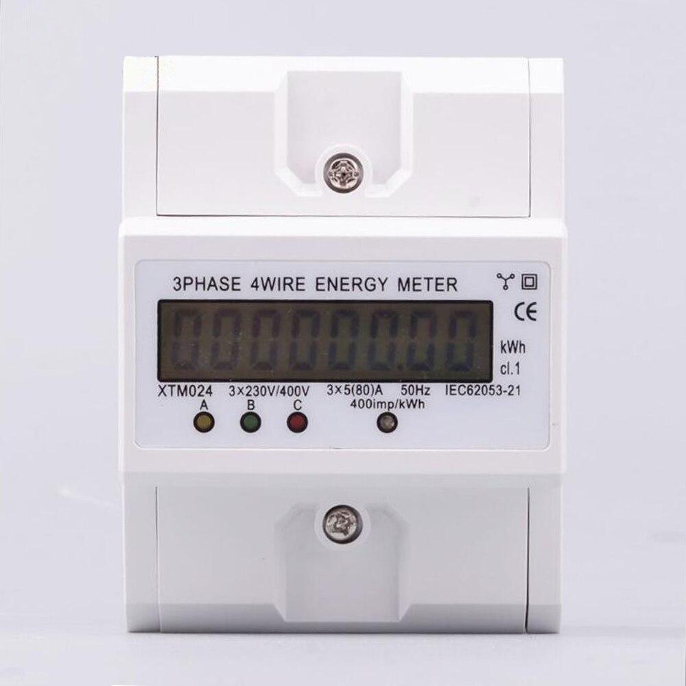 Numérique LCD 3x20 (80A) triphasé à quatre fils DIN-Rail KWh compteur d'énergie électronique