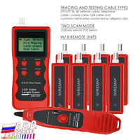 Network Ethernet LAN Telephone Wire Cable Length Tester RJ45 RJ11 BNC Cable Tester Tracker with 8 Remote Adaptor Wiremap USB