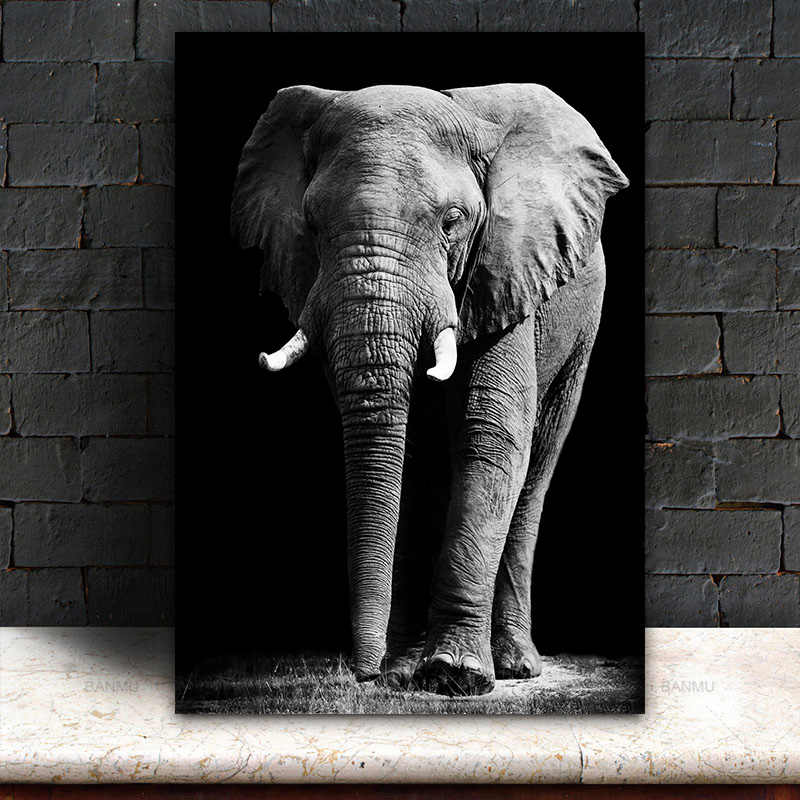 GOODECOR Black and White Elephant Painting Printed Poster art for Living Room Modern Home Decorative Picture Canvas Printing