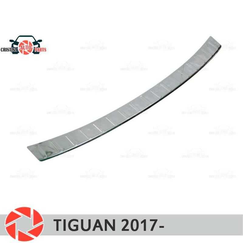Capa de placa amortecedor traseiro para volkswagen tiguan 2017-guarda placa de proteção estilo do carro decoração acessórios moldagem selo