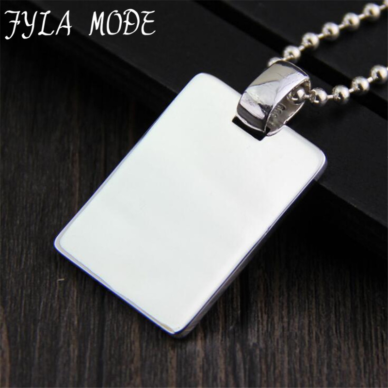 Men's Jewelry /Promotion Sale S999 Silver Dog Tag Necklace Pendant / Wholesale Fashion Jewelry Silver Accessory