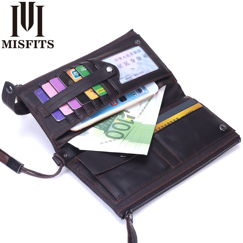 MISFITS Genuine Leather Men Long Wallet Coin Purse Organizer Cell Phone Clutch double zipper wallets Male Card Holder Money Bag