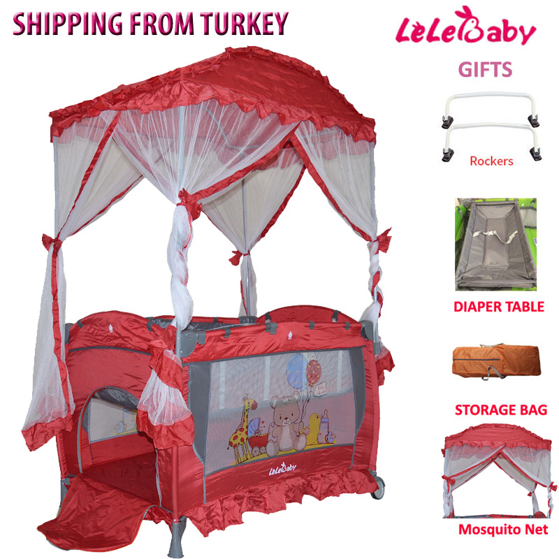 Lelebaby HH02 Portable Baby Crib Multifunctional Folding Baby Bed With Diapers Changing Table Child Game Beds For Infant Cradle