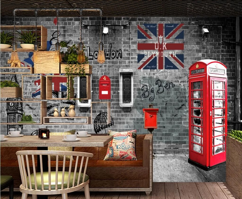 US $12 6 |European and American retro retro London phone booth cafe  restaurant wall professional production wallpaper mural -in Wallpapers from  Home