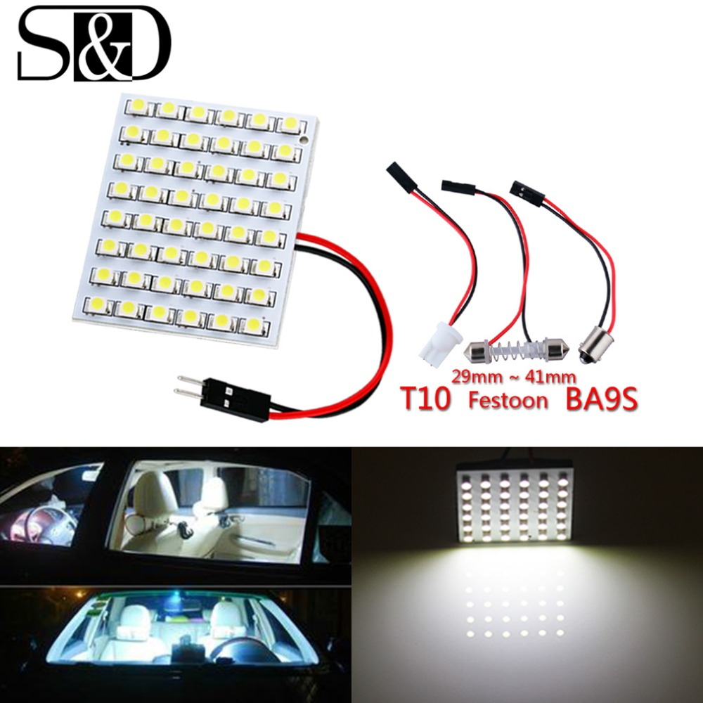 S&D 48 SMD Blue,White,Amber Panel led car T10 BA9S Festoon Dome Interior Lamp w5w c5w t4w bulbs Car Light Source parking