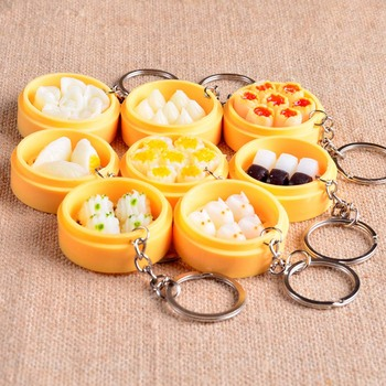 Creative Emulation Food Buns Steamers Keychain Phone Pendant Multi Styles Keychains Key Holder Purse Bag For Car christmas Gift image