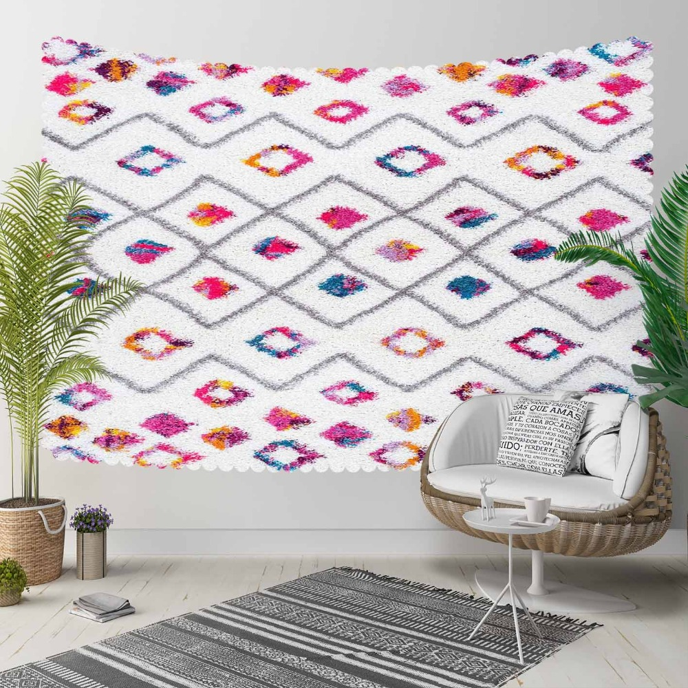 Else Ethnic Turkish Kilim Pink Yellow Blue Lines 3D Print Decorative Hippi Bohemian Wall Hanging Landscape Tapestry Wall Art