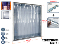 Arrowzoom 1 mm Thick 4 x 7 ft Room Warehouse Door Freezer Plastic Thermal Insulation PVC Strip Curtain KK1173