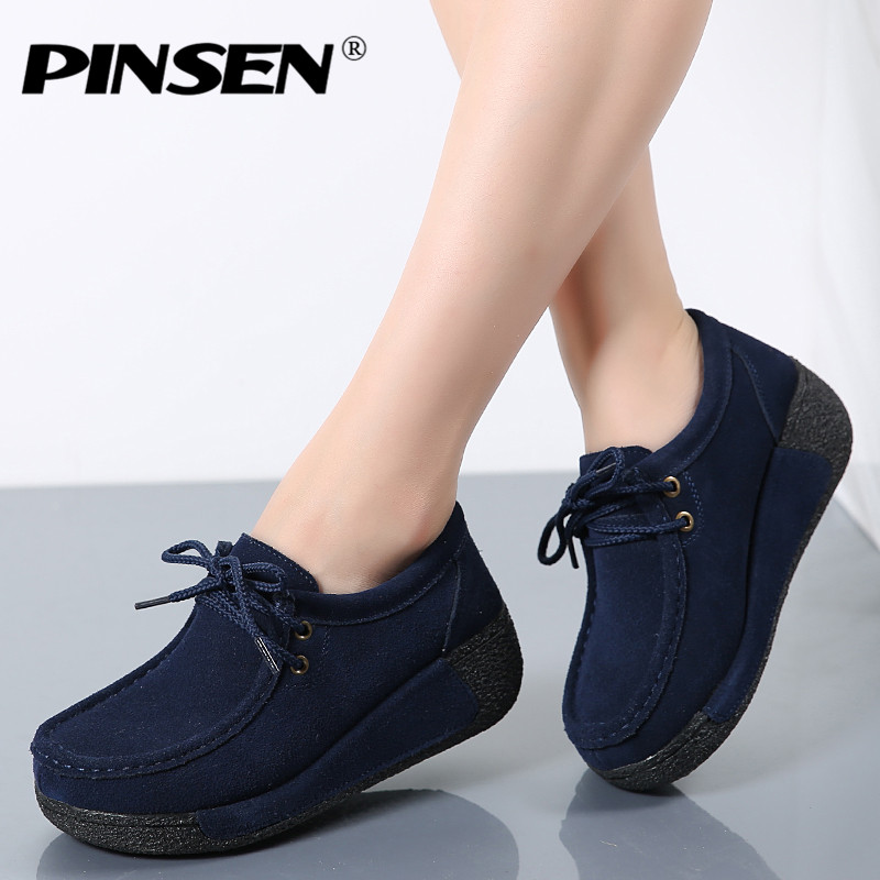 PINSEN 2017 Spring Women Platform Shoes Woman Casual Shoes Suede Leather Platform Shoes Women Flats Ladies Lace Up creepers rihanna pu leather creepers flat platform shoes woman 2016 casual loafers black pink flats lace up women shoes
