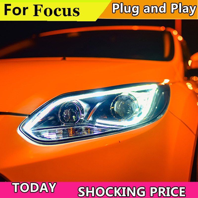 car styling For Ford Focus headlights angel eyes For Focus 2012 2013 2014 bi xenon lens h7 xenon цена 2017