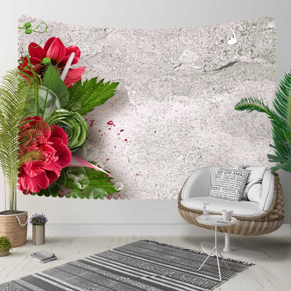 Else Gray Aging Vintage Wall Red Flower Green Leaves 3D Print Decorative Hippi Bohemian Wall Hanging Landscape Tapestry Wall Art