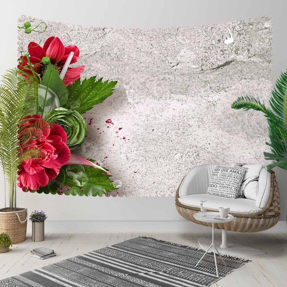 Else szary starzenie klasyczna ściana czerwony kwiat zielone liście 3D drukuj dekoracyjny Hippi czeski ściana wiszący krajobraz gobelin Wall Art w Dekoracyjne gobeliny od Dom i ogród na title=
