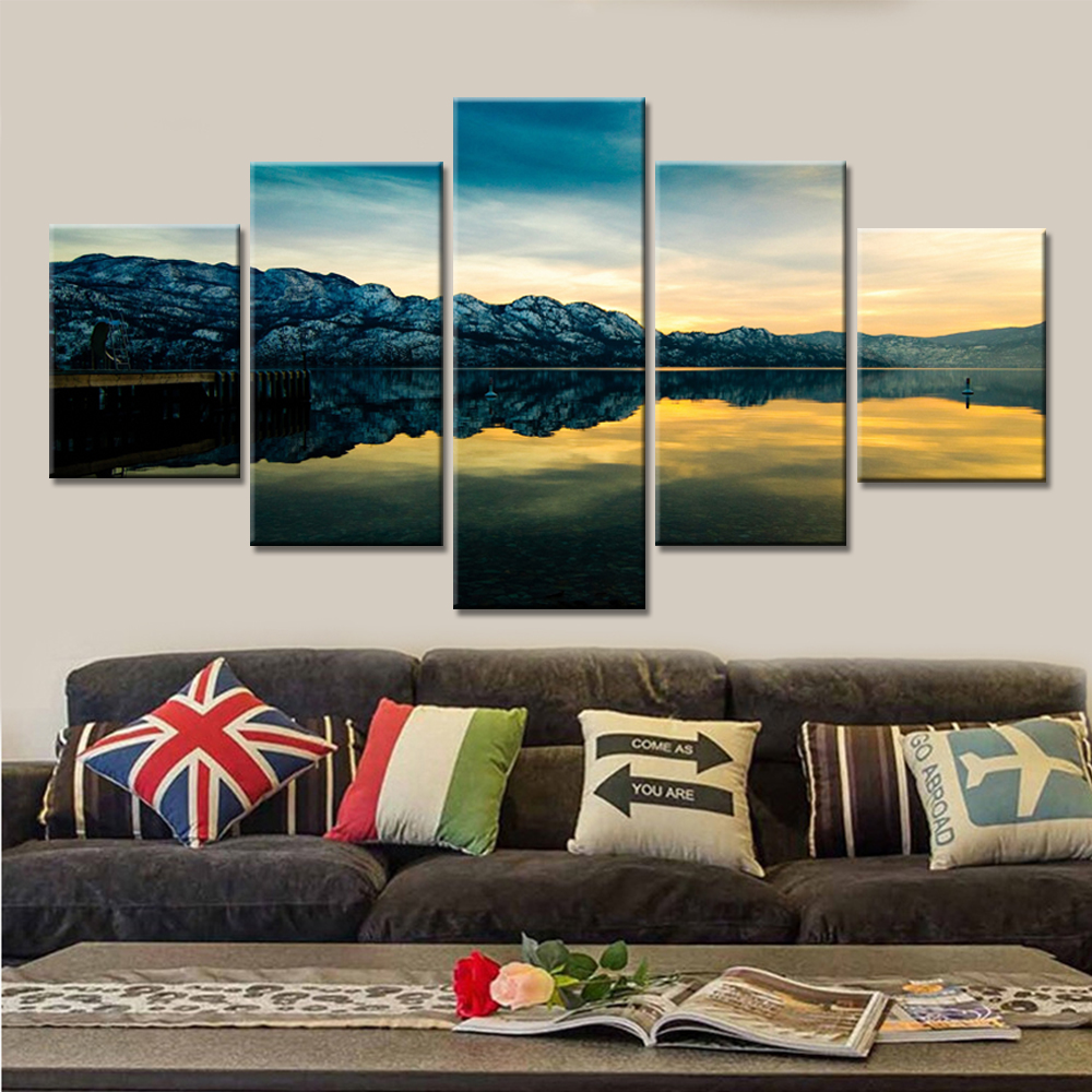 Abstract Poster Canvas Printed 5 Piece Old Caldera Scenery Modular Pictures Home Wall Art Decorative Artwork Modern Painting in Painting Calligraphy from Home Garden