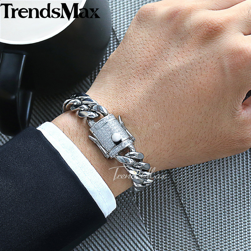 Trendsmax Miami Curb Womens Mens Jewelry Set 316L Stainless Steel Iced Out Cubic Zirconia CZ Gold Silver 12/14mm KHSM03
