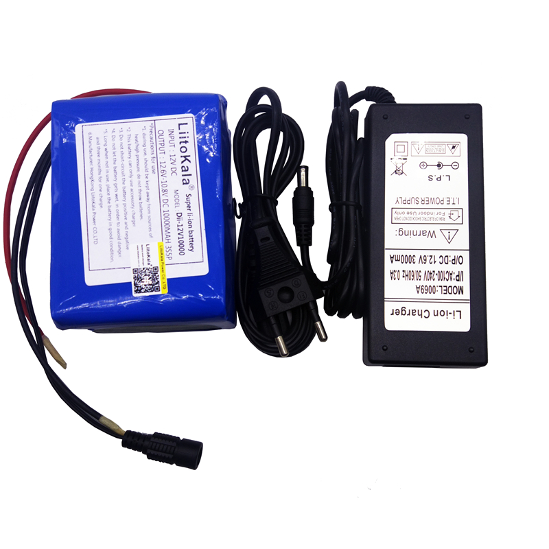 LiitoKala grande capacité 12 V 10Ah 18650 lithium batterie protection conseil 12.6 v 10000 mah capacité + 12 V 3A chargeur de batterie