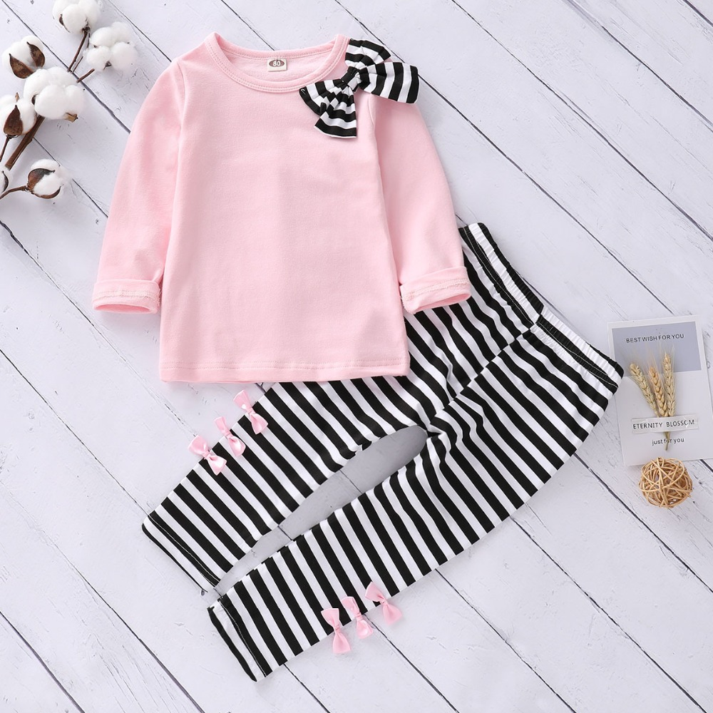 Humor Bear Baby Girls Sets Long Sleeve Tops+Striped Pants 2019 Spring Autumn Children Clothing Sets Girls Clothes Kids Outfits
